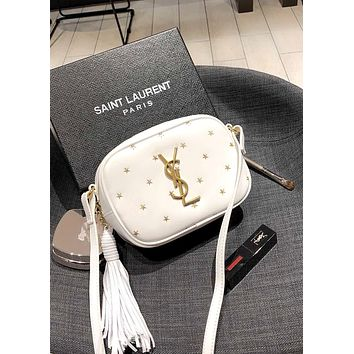 YSL BLOGGER 2019 new female stars tassel bag shoulder bag Messenger bag white