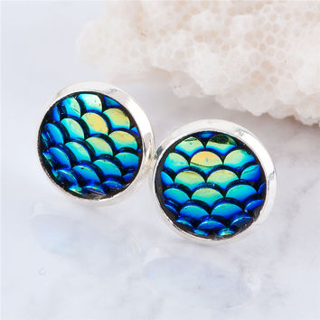 Mermaid Fish Scale Retro Stud Earrings