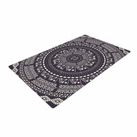"Famenxt ""Swadesi Boho Mandala"" Black Illustration Woven Area Rug"