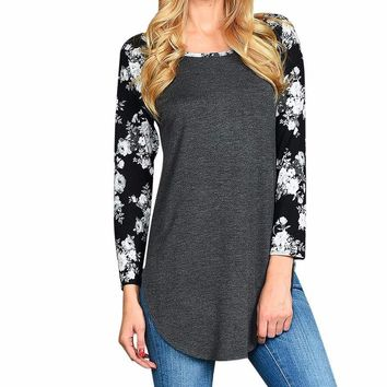 Women's Charcoal Gray and Raglan Sleeve Floral T shirt Top