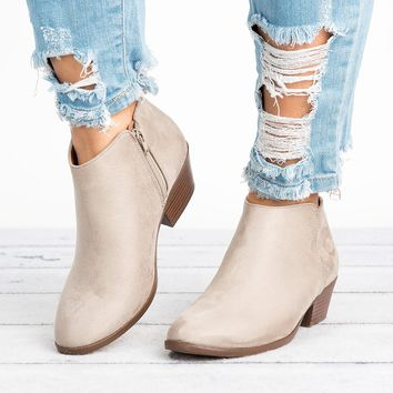 Zipper Ankle Booties - Clay