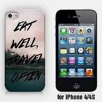 for iPhone 4/4S - Eat Well, Travel Often - Wanderlust - Travel - Mountain & Lake - Ship from Vietnam - US Registered Brand