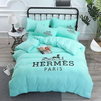Soft Cotton HERMES PARIS Bedding Blanket Quilt Coverlet Pillow shams 4 PC Bedding Set