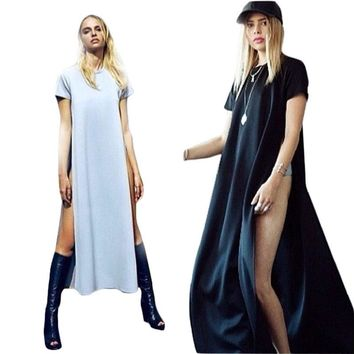 Sexy Dress T Shirt Dress For Women With Side Slit 2018Summer Fashion Brief Ladies Casual Clothes Vestido De Festa Maxi Dress C84