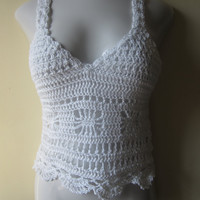 Cropped top, camisole, Crisscross back, WHITE,  festival clothing,gypsy, beachwear, bohemian princess, bamboo
