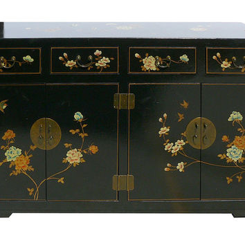 Black Chinese Leather Flower Bird Painting Buffet Console Table Shoes Storage Cabinet wk2900S