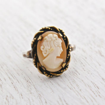 Antique Cameo Ring - Vintage Art Deco Signed C&C Clark and Coombs Victorian Revival Carved Shell Jewelry / Lovely Lady