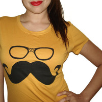 Women's Mustache Wayfarer Glasses T Shirt - American Apparel 50/50 Poly Cotton - S M L XL (20 Color Options)