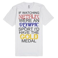 Netflix Olympic Gold-Unisex White T-Shirt