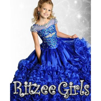 2017 New  Royal Blue Flower Girl Dresses with Ball Gown Scoop Beading Appliques Girls Pageant Gown Kids Party Gowns QA752