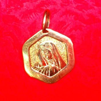 New 14K YELLOW GOLD MIRACULOUS MEDAL CHARM  BLESSED VIRGIN MARY PENDANT 16.6mm