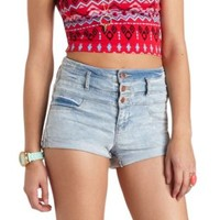 "Refuge ""Hi-Waist Shortie"" Cuffed Denim Shorts - Acid Wash Denim"