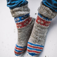 Hand knit natural grey with blue and red wool socks
