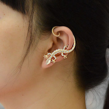 Gothic Punk Metal Crystal Lizard Cuff Clip Stud Personality Exaggerated Animal Opal Geckos Earrings for Women Men