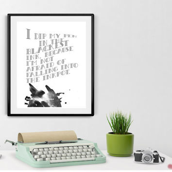 Inspirational Quote Ralph Waldo Emerson- I Dip my Pen -Printable, INSTANT DOWNLOAD, Gift for Writers, Wall Art, Quotes, Word Art, Wall Decor
