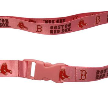 Boston Red Sox Lanyard - Breakaway with Key Ring - Pink