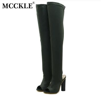 MCCKLE Female Fashion Style Sexy Slingback Stretch Fabric Over the Knee Boots 2017 Wom