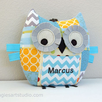 Personalized Medium Patchwork Owl Tooth Fairy Pillow Plush Stuffed Toy - great for baby boy or toddler - Yellow, Blue, Gray