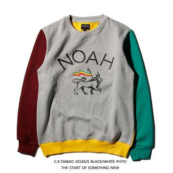 NOAH Winter Fashion Hip-hop Patchwork Pullover Sweatshirt [103836876812]