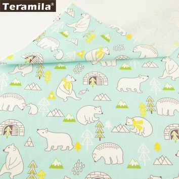 Teramila Cotton Fabric Sewing Patchwork Printed Cartoon Lovely Bears Designs Light Green Tissue Quilting Decoration Bedding