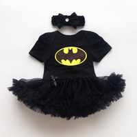 Newborn Baby Girl Batman Dresses Infant Romper Bodysuit Costume Black Girls Dress Headband 2 pcs Sets CL0842