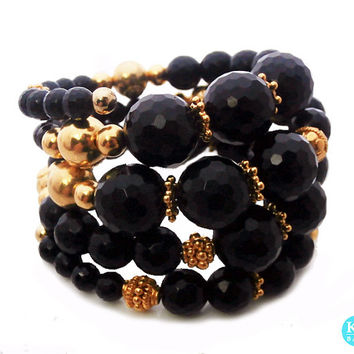 Faceted Black Onyx and Gold Vermeil Memory Wrap Bracelet