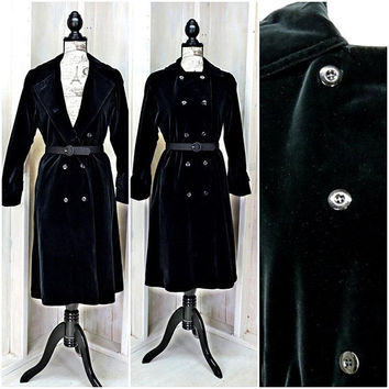 Long Black Velvet Coat / Stevie Nicks Style / Vintage 70s / Ethel Pear for OneUP USA / Size 5 / 7