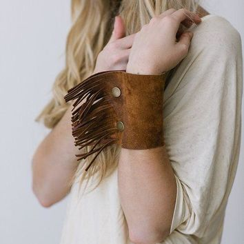 Fringe Leather Cuff Bracelet