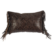 Trails End Damask Leather Pillow with Fabric Back