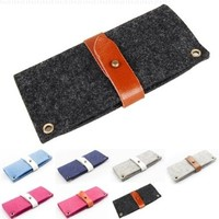 Gary & Ghost Elegant iPhone 5 5S 5C Case - Pure Wool Felt with Leather Strap Closure (Black Wool Felt / Chocolate Strap)