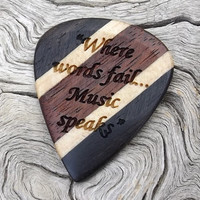 Handmade Laser Engraved Premium Wood Guitar Pick - 2-Sided Design - 3 Different Woods