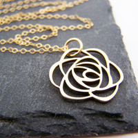 Flower Necklace - 14k Gold Fill Necklace - Simple Jewelry - Dainty Necklace - Gold Fill Jewelry - Gift for Her