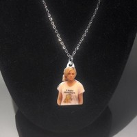 "Leslie Knope ""I Hate Mondays"" - 18 Inch Silver Chain Necklace"