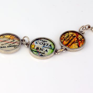 I Love You Around The World and Back - Custom Map Bracelet