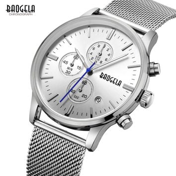 Men's Watches quartz-watch stainless steel mesh band silver Slim men watch Multi-function sports Chronograph Wrist watch