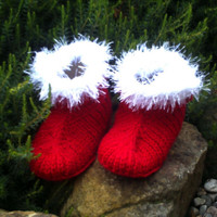 Hand knit  baby Santa booties / shoes. 6  to 12 months. Unisex. Red and white.