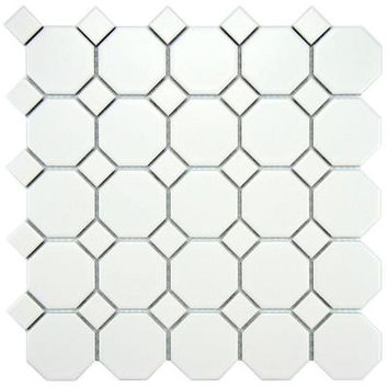 Merola Tile Metro Octagon Matte White with Dot 11-1/2 in. x 11-1/2 in. x 5 mm Porcelain Mosaic Floor and Wall Tile (9.2 sq.ft./case)-FXLMOWWT - The Home Depot