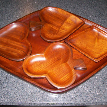 Wood Serving Tray, 4 Snack Bowls Card Suits, Vintage Card Game Snack Set, Mid-Century Snack Set, Heart, Spade, Diamond,Club, Mahogany Wood