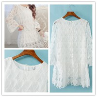 Women : Flowers hollow out white lace love heart three quarter sleeve dress ghl1009