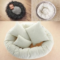 4 PCs Set Photography Props Newborn Infant Baby Photography Basket Filler Wheat Donut Posing Props Baby Fotografia Accessories