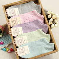 Women's Fresh Cute Polka Dot Socks Candy Colors Cotton Ankle Socks Soft Seasons = 1958076484