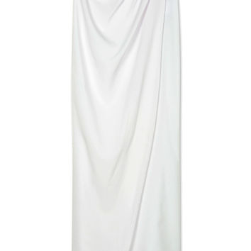 White High Waist Split Wrap Maxi Skirt