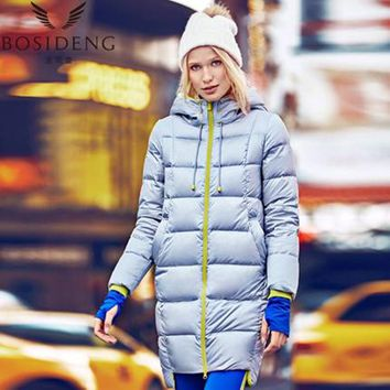 Women's coat duck down coat winter long jacket hooded outwear draw-string hat workout coat girl