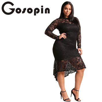 Gosopin Plus Size Floral Lace XXXL Women Club Dress Sexy Long Sleeve Party Mermaid Dresses Asymmetrical Black Elegant LC61865