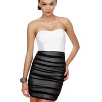 Sultry Strapless Dress - Color Block Dress - Black Dress - White Dress - $36.50