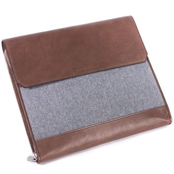 Brunello Cucinelli Men's Gray and Brown Leather Document Holder