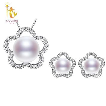 [NYMPH] Pearl Jewelry Set 925-Sterling-Silver Jewelry Real Freshwater Pearl Necklace Pendant Earrings Wedding Party Women SET16