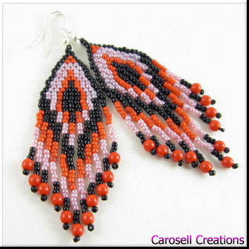 Native American Style Beadwork Fringe Seed Bead Earrings in Red, Burgandy, Pink and Black