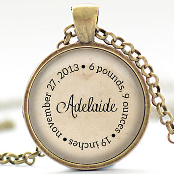 Personalized Baby Name Necklace, Mother's Pendant, Choice of Color