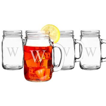 Personalized Old Fashioned Drinking Jars (Set of 4)